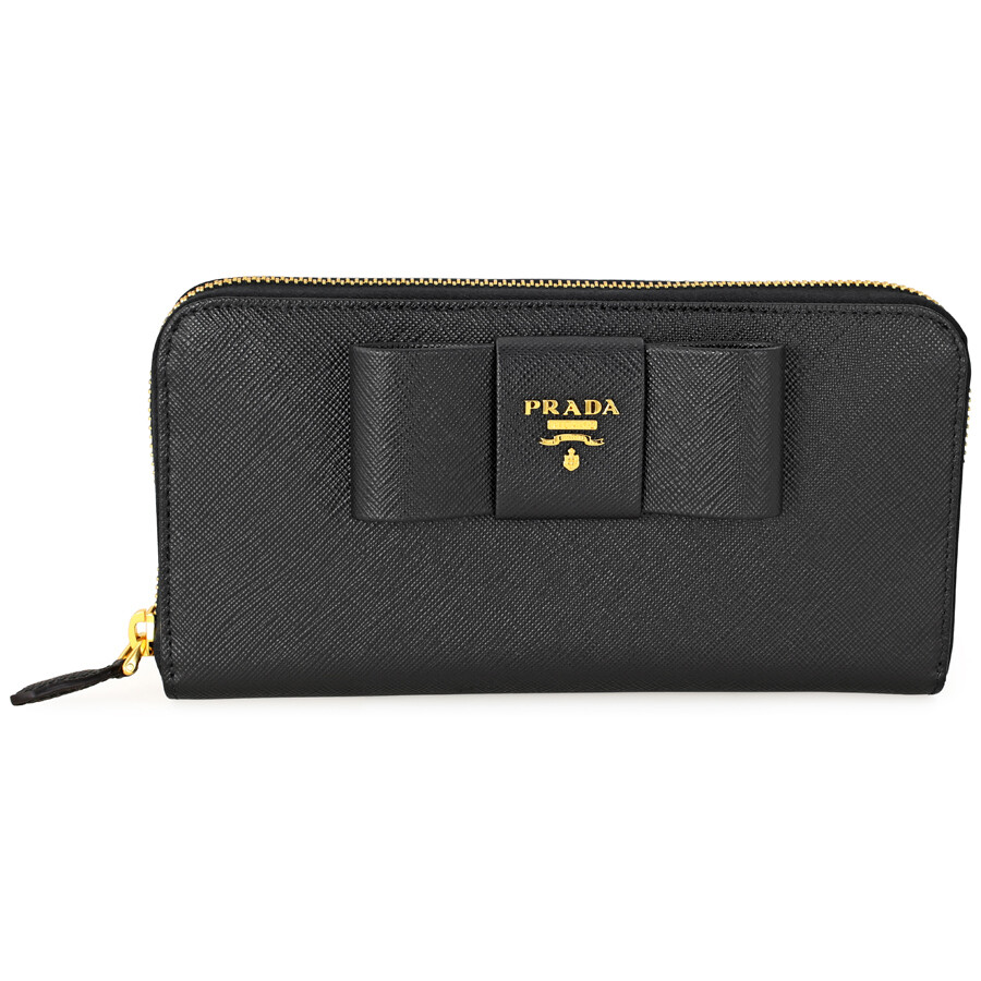 7132ed12aa27 Prada Fiocco Saffiano Leather Continental Wallet - Black Item No.  1ML506-ZTM-F0002
