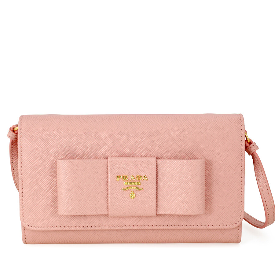 1d4d2a5a6b1af1 Prada Fiocco Saffiano Leather Mini Crossbody - Orchidea Item No.  1MT437-ZTM-F0615