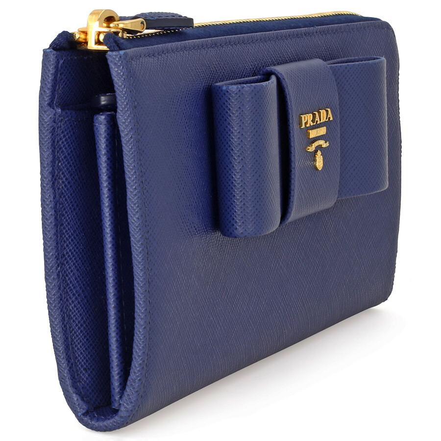 ccb3064f7355 Prada Fiocco Saffiano Leather Wallet - Bluette - Fiocco - Prada ...