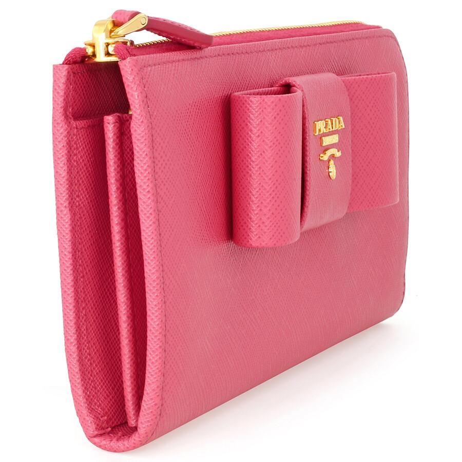 b6cd70de0f10 Prada Fiocco Saffiano Leather Wallet - Peonia - Fiocco - Prada ...
