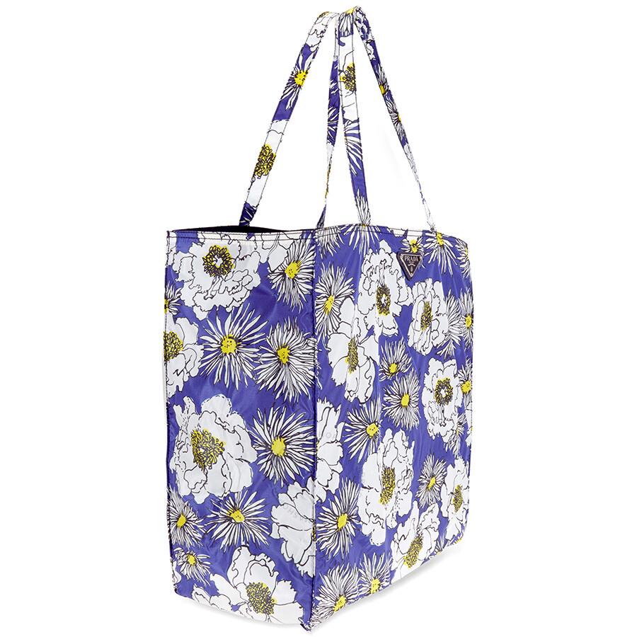 7820cb7e7385 Prada Floral Nylon Tote - Bluette Fiore - Prada - Handbags - Jomashop