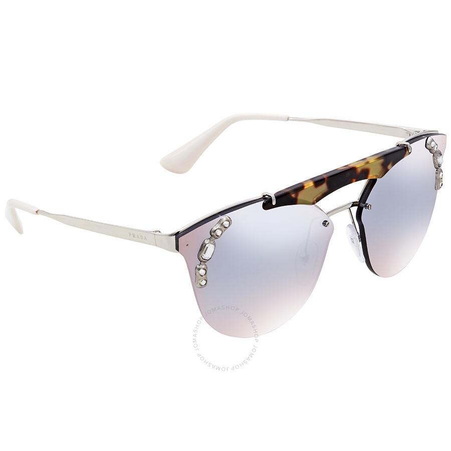 e842dcee73f1 Prada Grad Light Blue Mirror Silver Cat Eye Sunglasses PR 53US 23C5R0 42  Item No. PR 53US 23C5R0 42