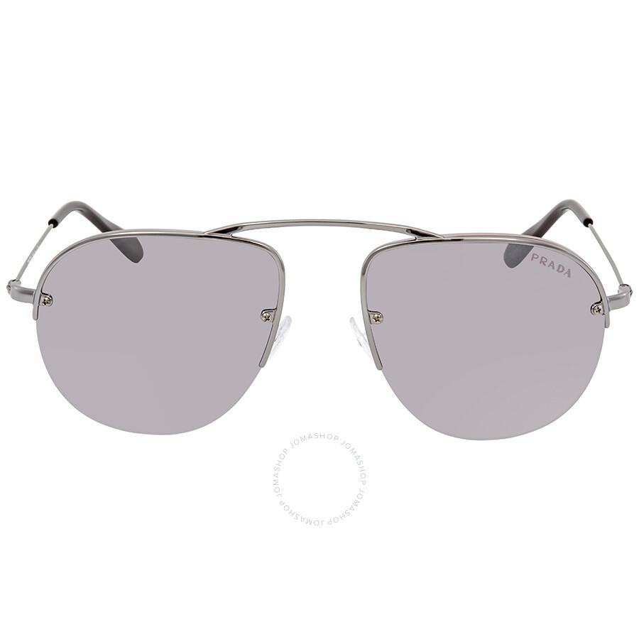 f6b918dff3e3 ... Prada Gradient Grey Mirror Silver Aviator Men's Sunglasses PR 58OS  5AV6T2 55 ...