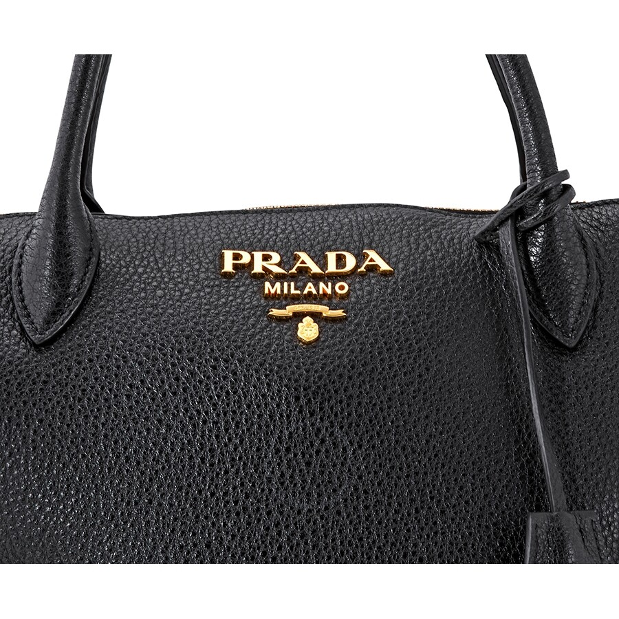 4f0a8f56e Prada Grained Leather Shoulder Bag- Black - Prada - Handbags - Jomashop