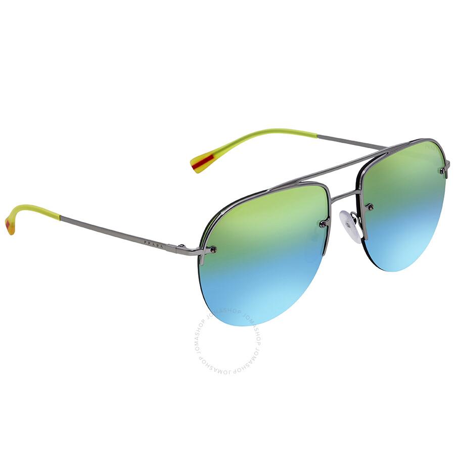 da414d681839 Prada Green Mirror Blue Grad Green Aviator Men s Sunglasses  PS53SS-5AV6U2-59 ...