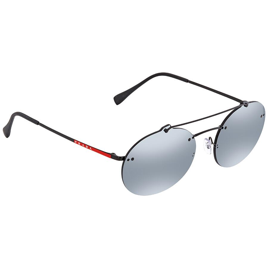 79c4c7c449a4 Prada Grey Mirror Black Round Men s Sunglasses PR PS56TS 1AB5L0 55 ...