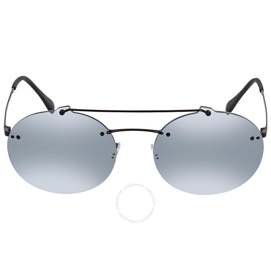 8b175b303938 ... Prada Grey Mirror Black Round Men's Sunglasses PR PS56TS 1AB5L0 55 ...