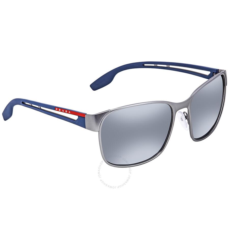 52aaa745fae5 Prada Grey Mirror Gradient Silver Square Sunglasses PS 52TS DG12F2 59 ...