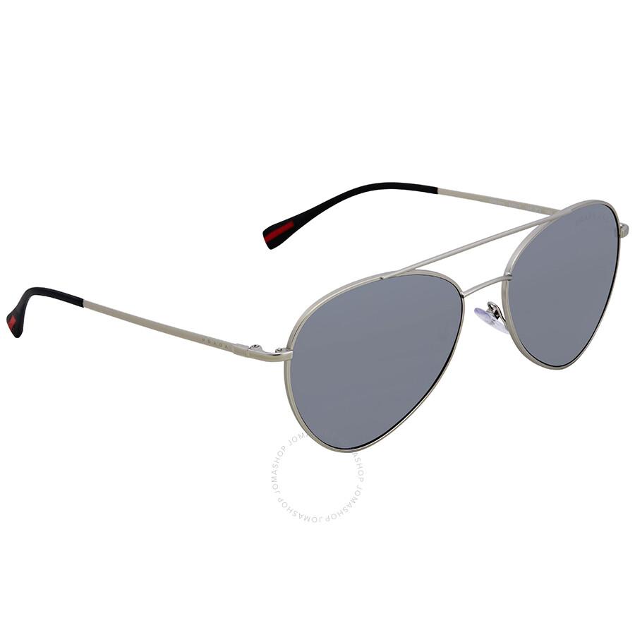 d652cacd64 Prada Polarized Grey Mirror Gradient Silver 57 mm Aviator Sunglasses PS 50SS  1AP2F2 57 ...