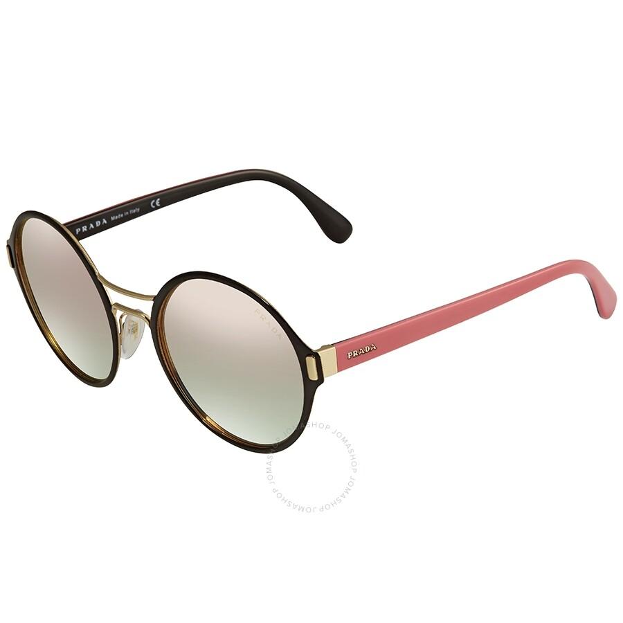 d7133226b23a Prada Grey Mirror Rose Gold Round Ladies Sunglasses 57TS-AAV5L2-54 ...
