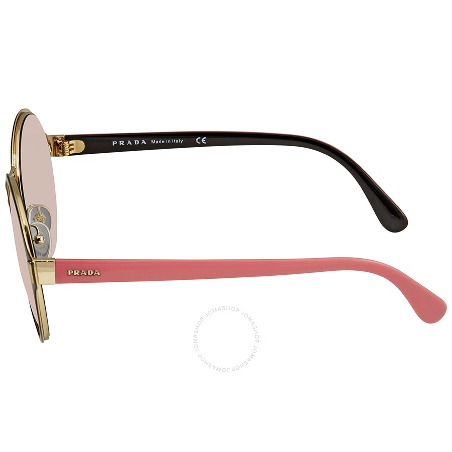 0efc7c9bd3 Prada Grey Mirror Rose Gold Round Ladies Sunglasses 57TS-AAV5L2-54 ...