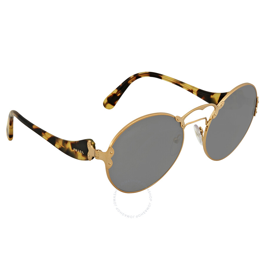 445c21e4551 Prada Grey Round Ladies Sunglasses PR 55TS 7OE9K1 57 - Prada ...
