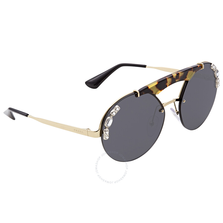 8cd9331b9f2b9 Prada Grey Round Sunglasses PR 52US I8N5S0 37 - Prada - Sunglasses ...