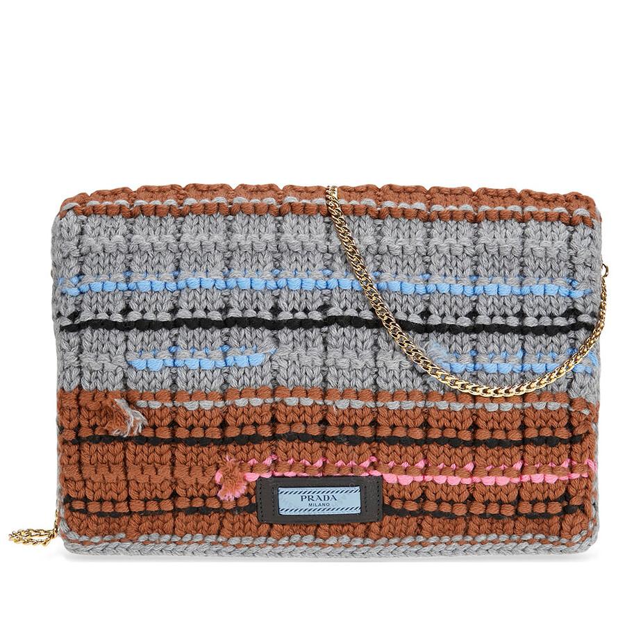 91897369 Prada Knit Wool with Fabric Tricot Bag - Grey