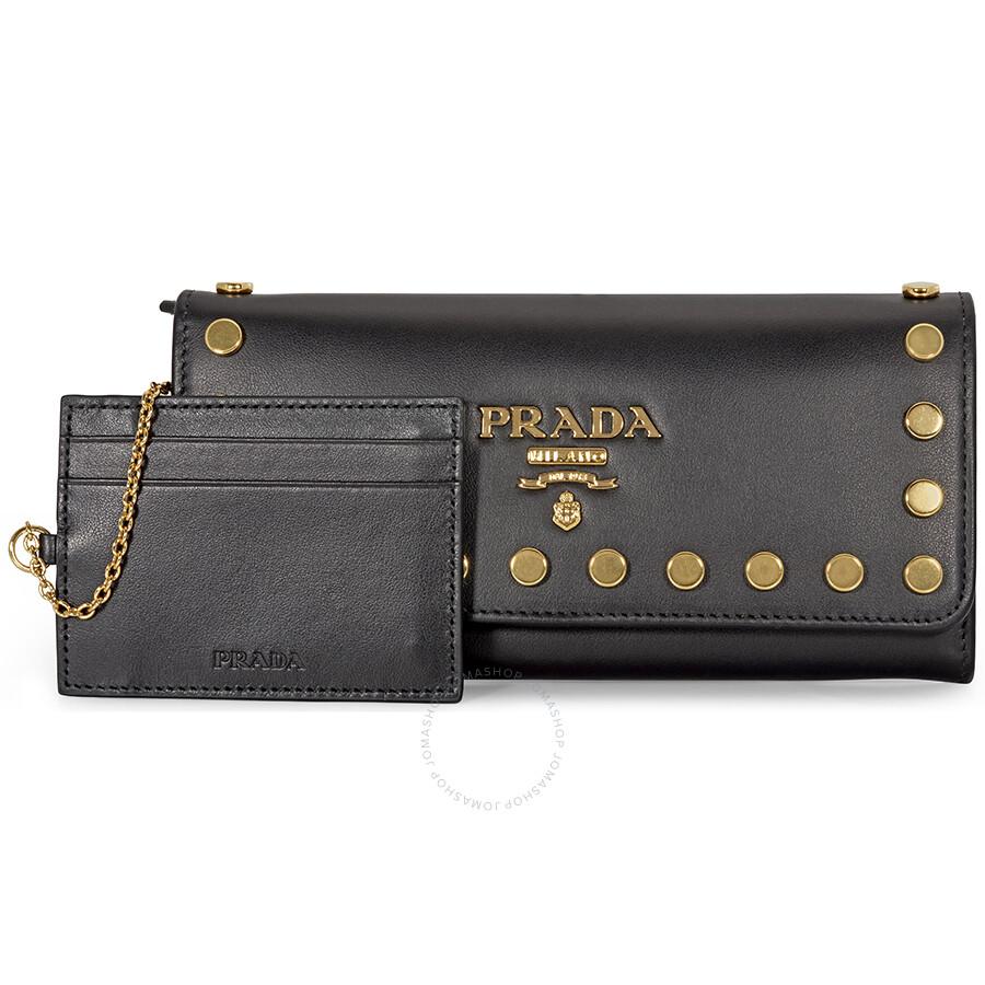 8f6206f044b4 Prada Large Studded Continental Wallet - Black - Prada - Handbags ...