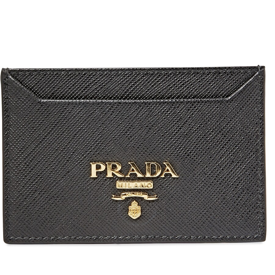 4435410b31bc Prada Leather Card Holder- Black - Prada - Handbags - Jomashop