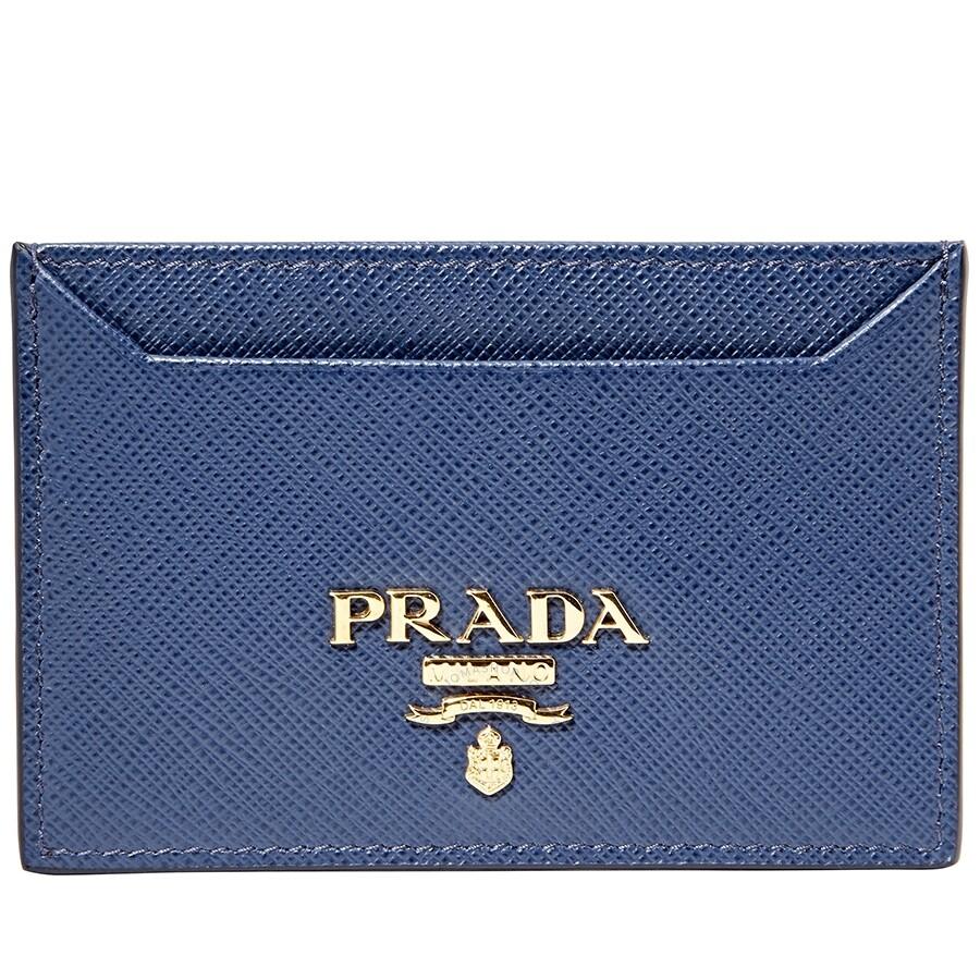 82f80d87324a Prada Leather Card Holder- Blue - Prada - Handbags - Jomashop