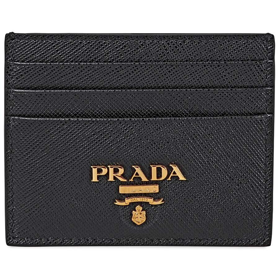 5cc3af661a6899 Prada Leather Credit Card Holder- Black - Prada - Handbags - Jomashop