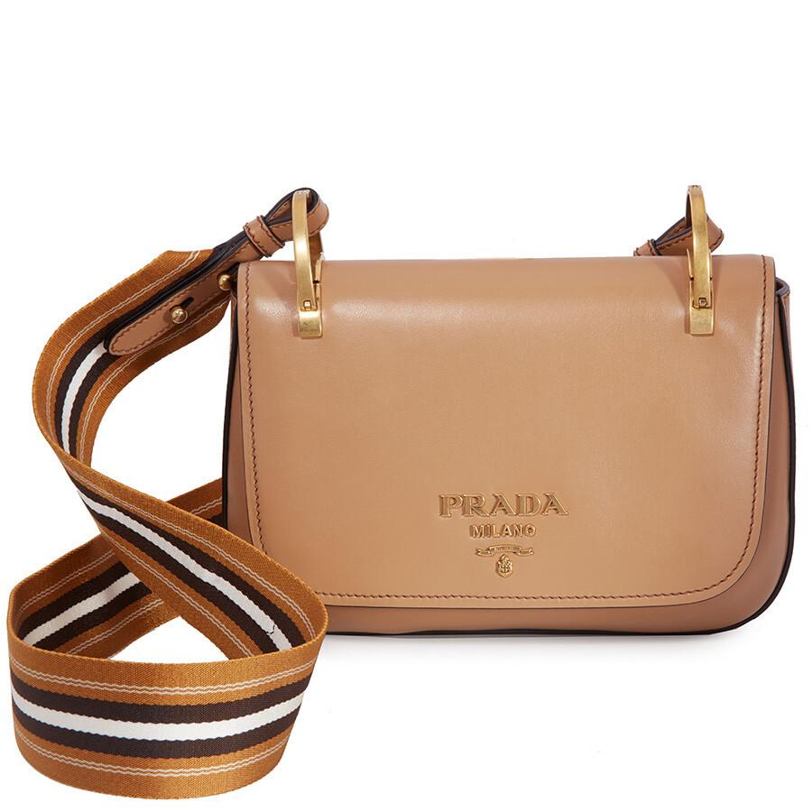 70d838e533 Prada Leather Shoulder Bag- Caramel Item No. 1BD110 2AIX F098L-V NOO