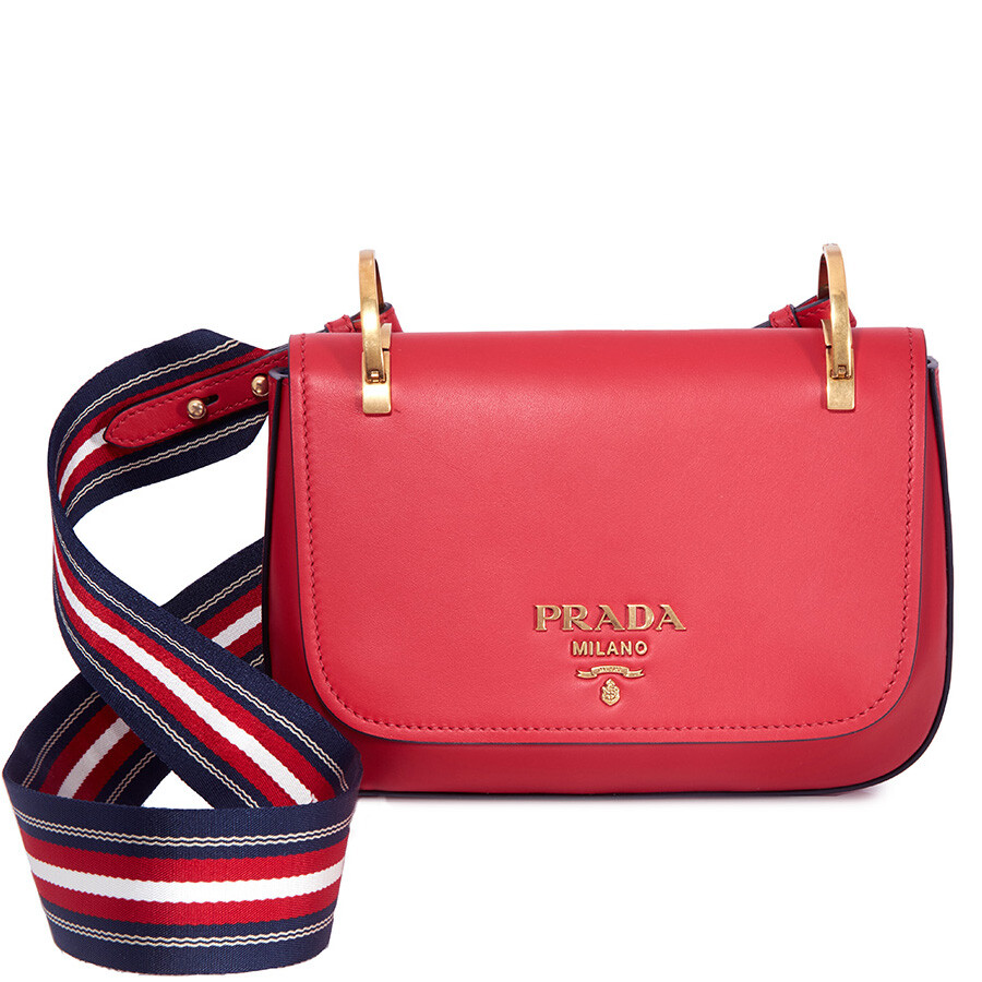 6f16ff234b Prada Leather Shoulder Bag- Red Item No. 1BD110 2AIX F068Z-V NOO