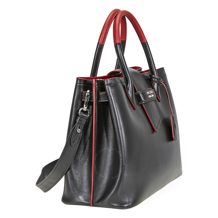 Prada Leather Tote- Black and Red - Prada - Handbags - Jomashop fc41f72478