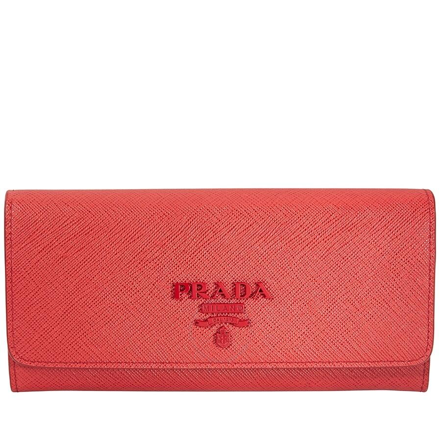 c292f0350412 Prada Leather Wallet- Red - Saffiano - Prada - Handbags - Jomashop