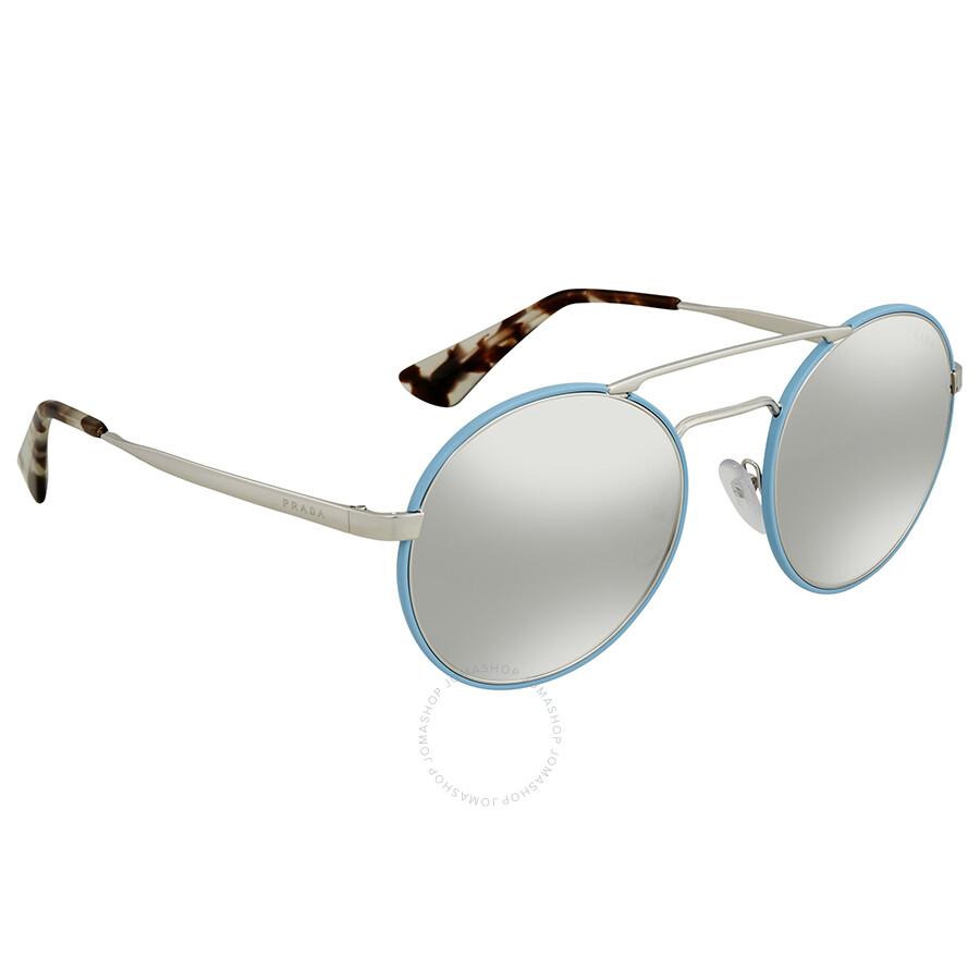 dc1cc7cd8473 Prada Light Grey Mirror Grad Silver Round Ladies Sunglasses PR 51SS VHT1A0  54 ...