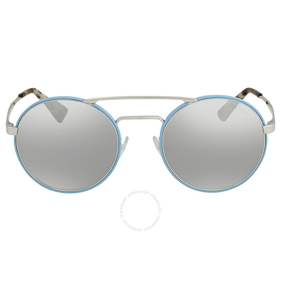 2df233784324 ... Prada Light Grey Mirror Grad Silver Round Ladies Sunglasses PR 51SS  VHT1A0 54 ...