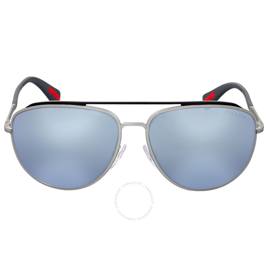 aviator blue  Prada Linea Rossa Aviator Blue Mirror Lens Sunglasses - Prada ...