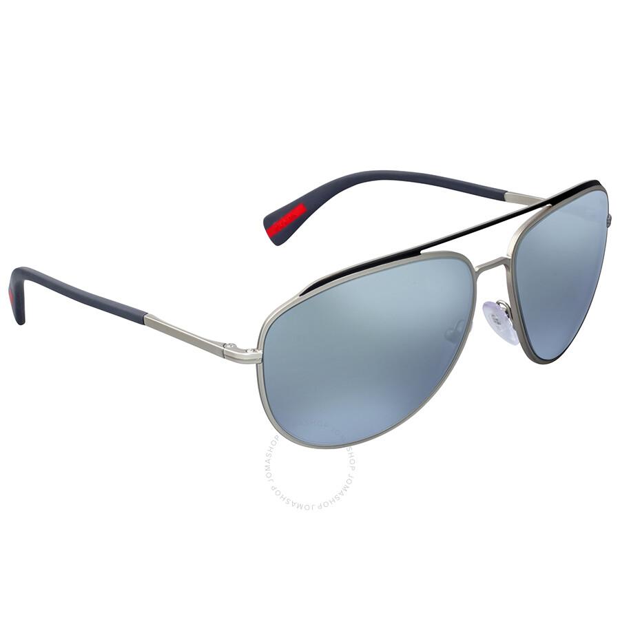 26fc07fffa83c Prada Linea Rossa Aviator Blue Mirror Lens Sunglasses - Prada ...