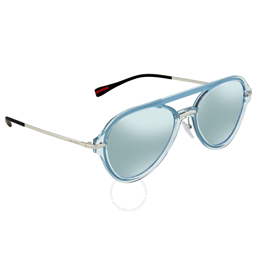 7ed78d44995 Prada Linea Rossa Blue Mirror White Round Men s Sunglasses 0PS 04TS 0P85Q0  57 ...