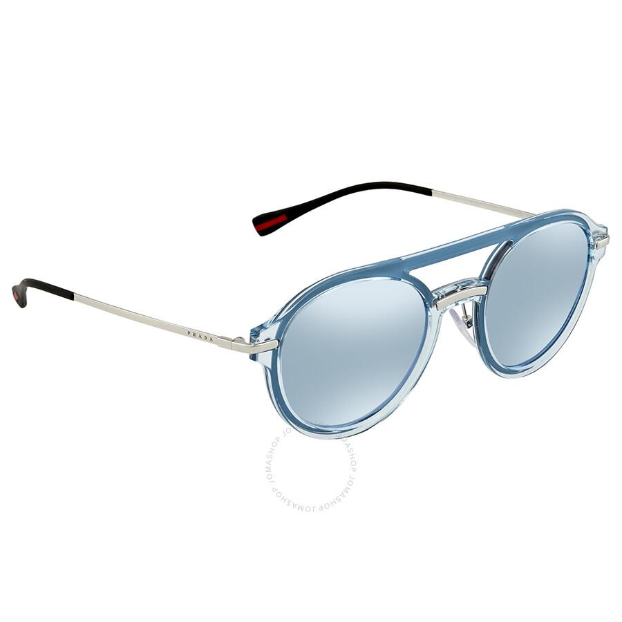 dcff26b182b99 Prada Linea Rossa Blue Mirror White Round Men s Sunglasses 0PS 05TS 0P85Q0  51 ...