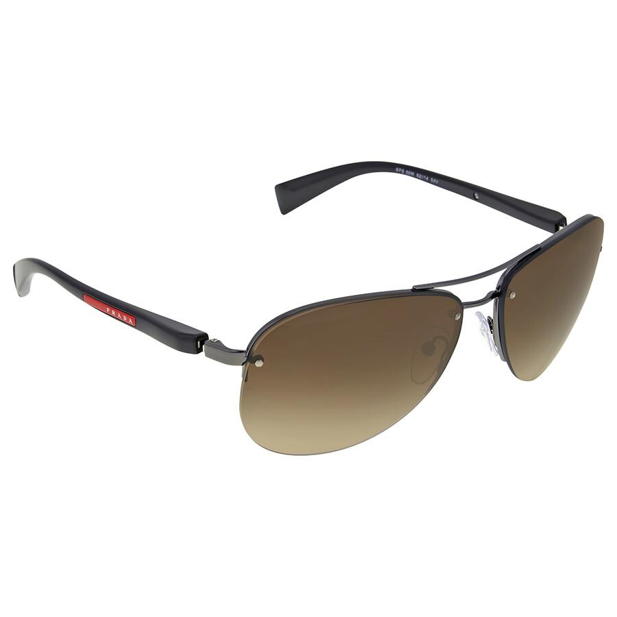 7282032d628 Prada Linea Rossa Brown Lens Gunmetal Sunglasses - Prada ...