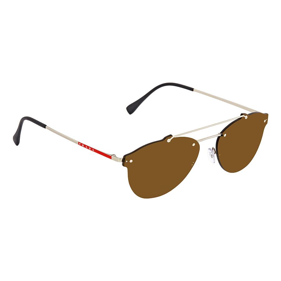 908a2c229eaa Prada Linea Rossa Brown Round Men s Sunglasses PR PS55TS 1AP2P1 59 ...