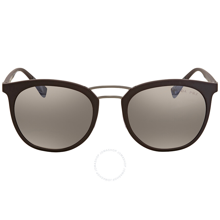 7f962a3a136d ... Prada Linea Rossa Dark Brown Mirror Silver Round Men s Sunglasses PS  04SS UB05K0 54 ...