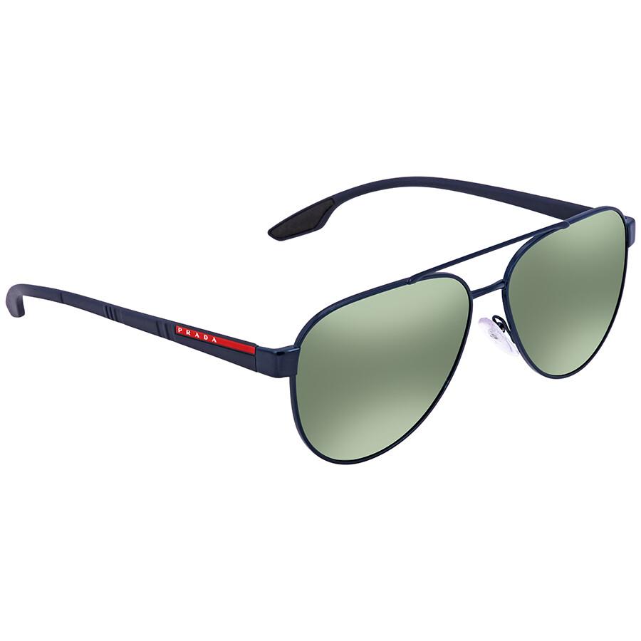 8176a8a21365 Prada Linea Rossa Green Mirror Aviator Men s Sunglasses PR PS54TS 7AN213 58  ...