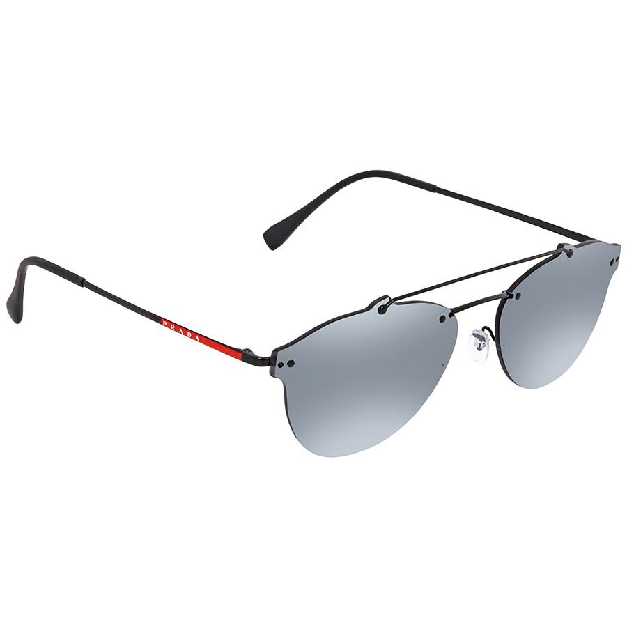 a70a90459546 Prada Linea Rossa Grey Mirror Black Round Men s Sunglasses PR PS55TS 1AB5L0  59 ...