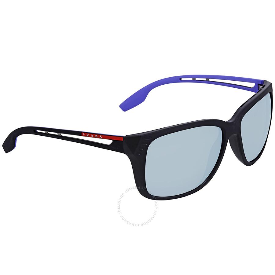 ffe7ecb1268 Prada Linea Rossa Grey Violet Mirror Rectangular Sunglasses PS 03TS 1BO140  59 ...