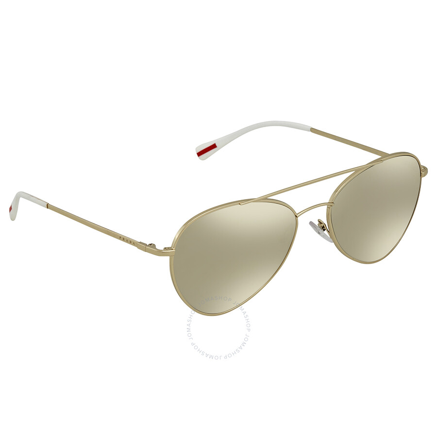 f71e24387726 Prada Linea Rossa Light Brown Mirror Gold Aviator Men s Sunglasses PS50SS  ZVN1C0 60 ...