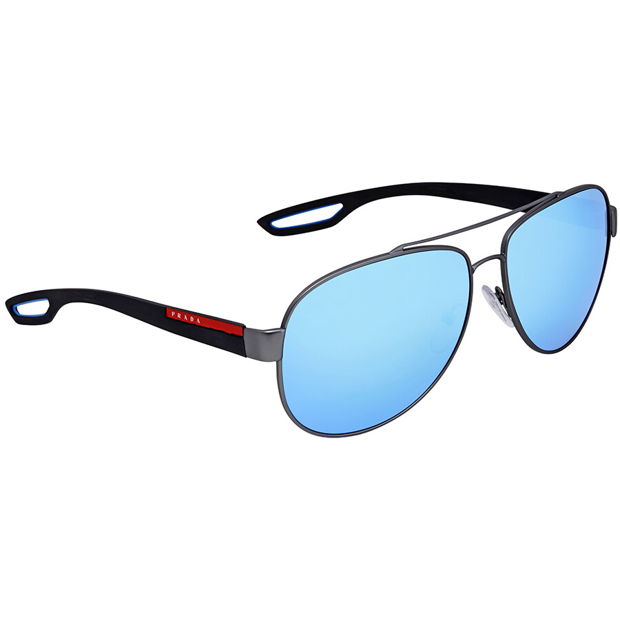 f629d02a158e5 Prada Linea Rossa Light Green Mirror Blue Aviator Men s Sunglasses PS 55QS  DG15M2 62 ...