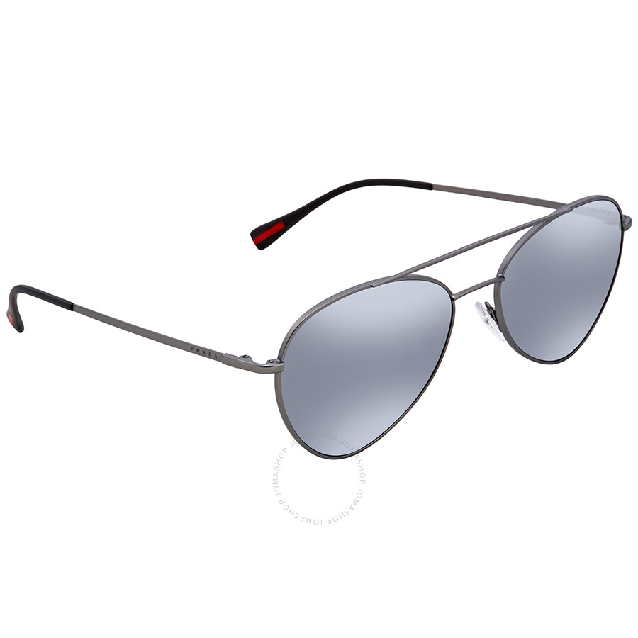 b5a65b313e Prada Linea Rossa Light Grey Mirror Black Aviator Men s 57mm Sunglasses PS  50SS 7CQ5L0 57 ...