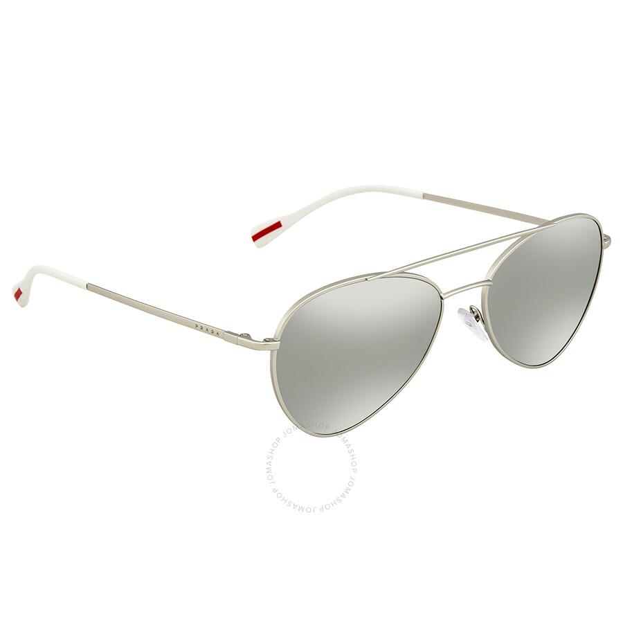 5a9863ab131f Prada Linea Rossa Light Grey Mirror Silver Aviator Men s Sunglasses PS 50SS  1AP2B0 57 ...