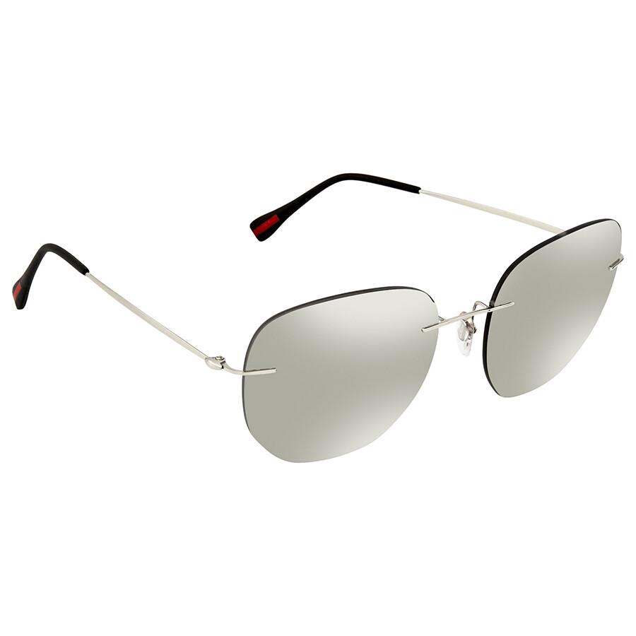 d794cb6c9db9 Prada Linea Rossa Light Grey Mirror Silver Aviator Men s Sunglasses PS 50TS  1BC125 57 ...