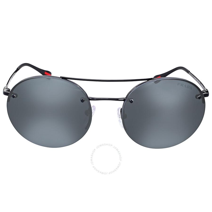 9e7de59235 Prada Linea Rossa Round Aviator Grey Mirror Black Sunglasses Item No.  PR-PS54RS-7AX5L0-56