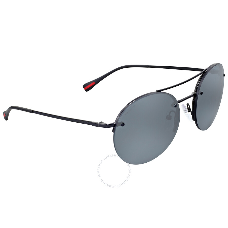 ffdd321d9c84 Prada Linea Rossa Round Aviator Grey Mirror Black Sunglasses - Prada ...
