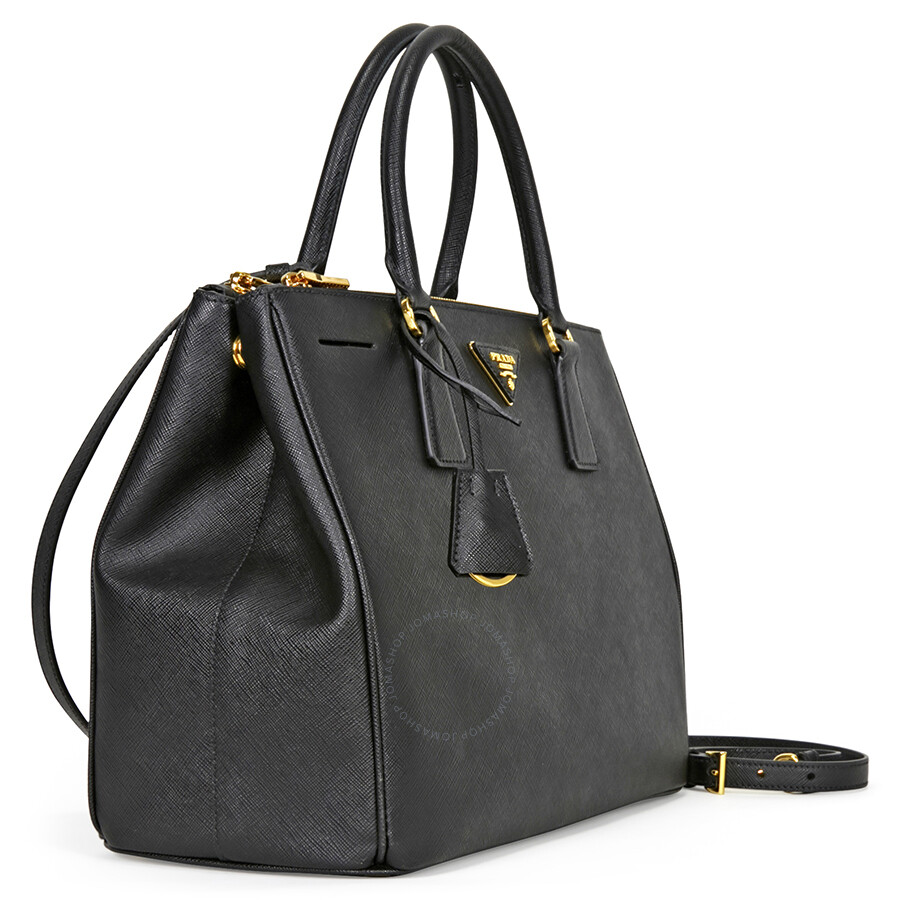f3577f3799cf Prada Lux Large Double Zip Saffiano Leather Tote - Black - Lux ...