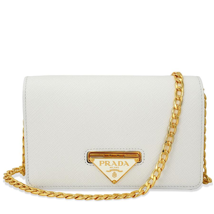 97949dd89d35 Prada Lux Saffiano Leather Crossbody Wallet - Bianco Item No.  1BP006-CQO-NZV-F0009