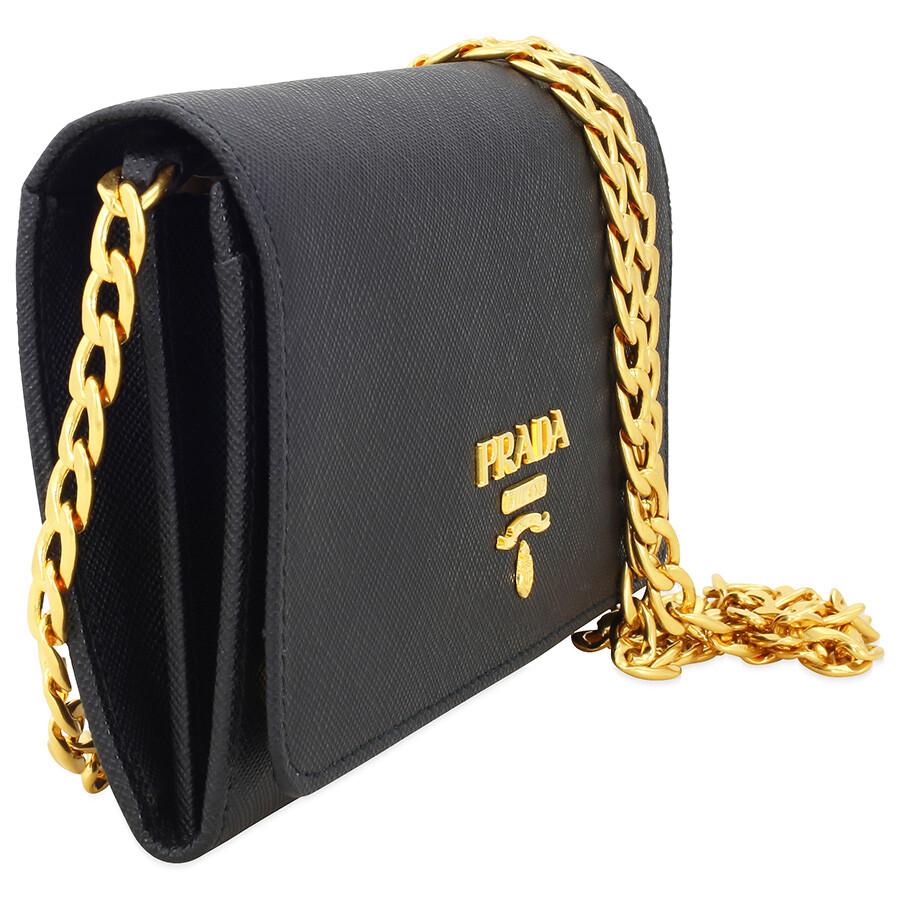 b9ff844054f6b2 Prada Lux Saffiano Leather Crossbody Wallet - Black - Lux - Prada ...