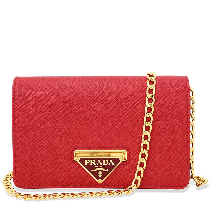 70c66eecb021 Prada Lux Saffiano Leather Crossbody Wallet - Fuoco - Lux - Prada ...