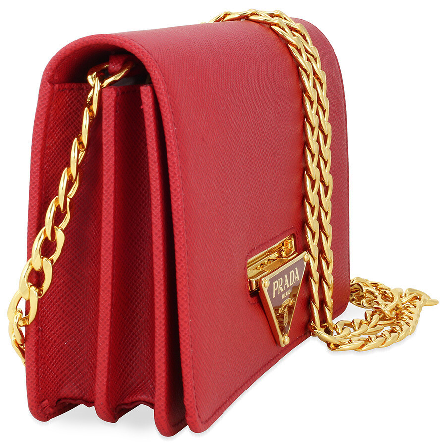 Prada Lux Saffiano Leather Crossbody Wallet - Fuoco - Lux - Prada ... 67bae8f35be27